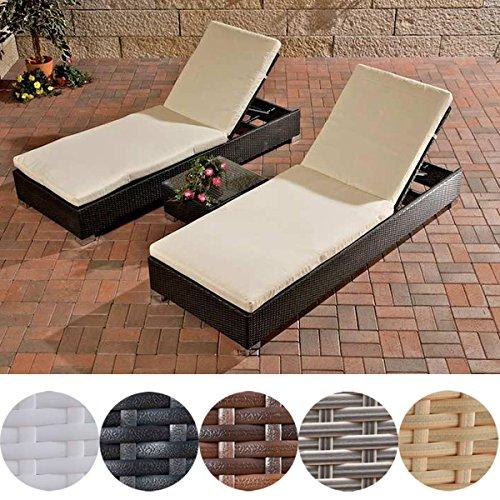 CLP 2x Poly-Rattan Sonnenliege / Gartenliege + Beistell-Tisch ca. 50 x 45 cm, ALU Gestell, Auflagen...