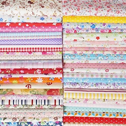 6d98304c8657ec YXJD 100% Baumwollstoff Patchwork Stoffe DIY Gewebe Quadrate Baumwolltuch  Stoffpaket zum Nähen mit vielfältiges Muster (50pcs 20x20cm)