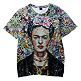 SIMYJOY Unisex Frida Kahlo Poster T-Shirt 3D Druck Mexikanischen Künstler Vintage-Stil T-Shirt Cool Modern Rockabilly Sommer Streetwear Tee für Männer Frauen Jugenden XS