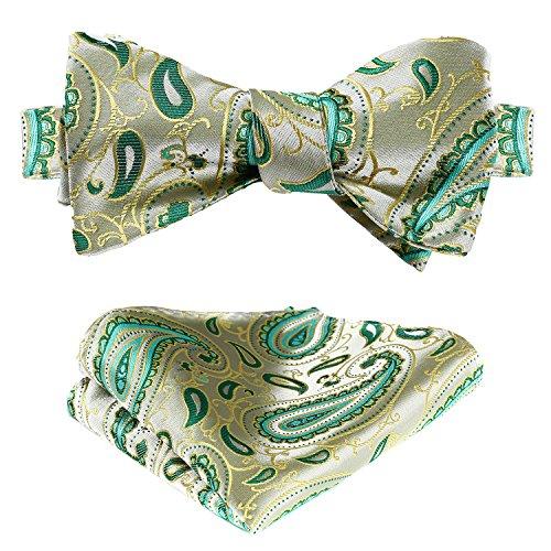Hisdern Herren Fliege Gr. Einheitsgröße, Beige / Green (Tie Bow Green)