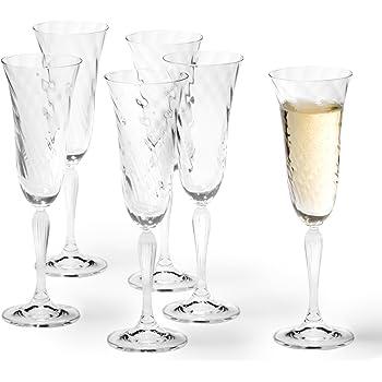 Handgemachte Sektgl/äser im 6er-Pack 160ml Milchglas Aufdruck Champagnergl/äser Prosecco