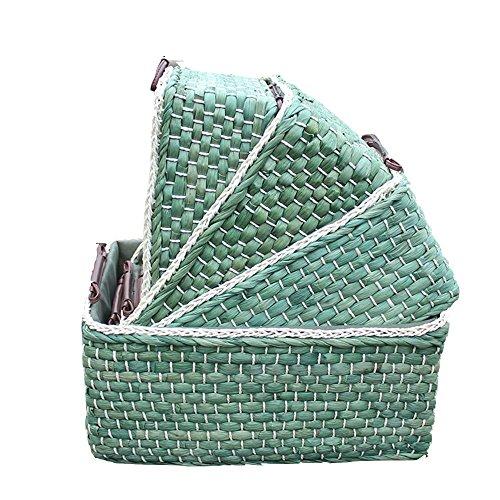 SEESUNG® Stroh aufbewahrungsbox Kosmetik Rattan hantier Desktop Multifunktions aufbewahrungsbox Snacks aufbewahrungsbox 4 Sätze, Green (12 Schublade-storage-bett)