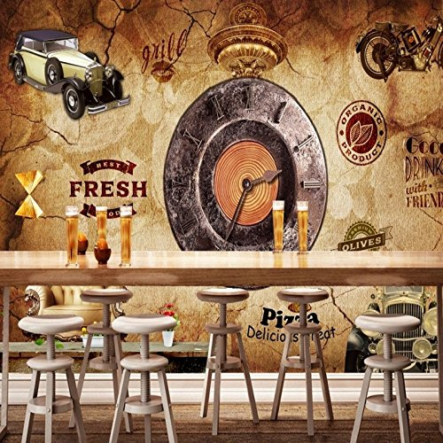 Preisvergleich Produktbild ZYLBDNB Persönlichkeit Wandbild,  benutzerdefinierte Wandbild Vintage Retro Industrie Wind Cube Clock Bar Cafe Hintergrund Wandbilder benutzerdefinierte Tapete, 140X70.5CM