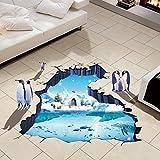 Wandaufkleber 3D Polar Gletscher Pinguin,Hevoiok Modern Dekor Wohnkultur Wandtattoo Aufkleber Wall Decals Tapete für Vinyl Kunst Wohnzimmer Dekor Schlafzimmer Abnehmbar (Blau)