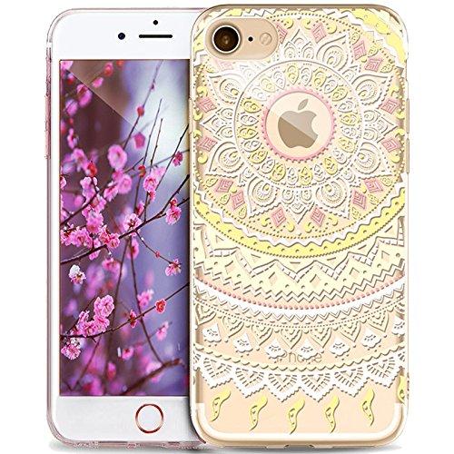 Coque iPhone 5S,Coque iPhone SE,Coque iPhone 5,Étui pour iPhone 5S 5 SEikasus® Coque iPhone SE 5S 5 Silicone Étui Housse Téléphone Couverture TPU avec Indische Sonne Mandala de fleurs motif Ultra Minc Mandala de fleurs #3