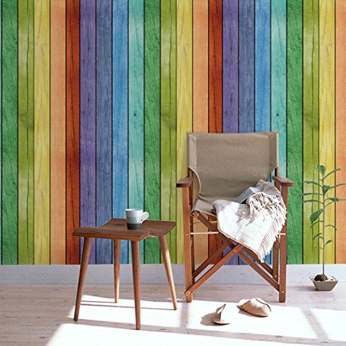 Dekorative selbstklebend Rainbow Holz Panel Maserung Kontakt Papier Regal Schublade Liner für Küche Schränke zinntheken Duett Tisch Möbel Wand Kunst Aufkleber 61cm von 9.8Füße (Kontakt-papier-holz)