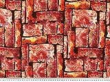 ab 1m: Chiffon, Crinkle, schwarz-orange-rot, 140cm breit