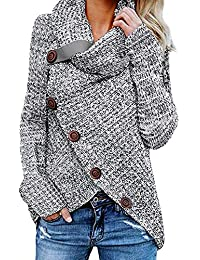 GOSOPIN Damen Strickjacke Rollkragen Gefüttert Cardigan Zopfmuster V-Ausschnitt Hoodies 6 Farbe S-XXL