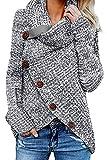 GOSOPIN Damen Strickjacke Mit Kapuze große größen Rollkragen Cardigan für mollige Strickmantel Grau M