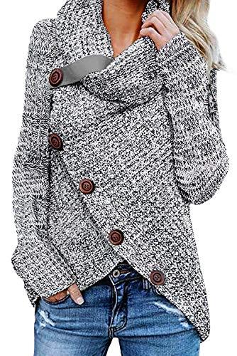 GOSOPIN Damen Strickpulli elegant Langarm Herbst high neck Sweatshirt ausgefallen Strickcardigan Grau XL High Neck Sweatshirt
