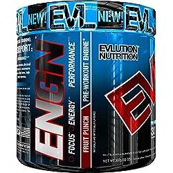 Evlution Nutrition ENGN | Suplemento En Polvo Pre Entreno Con Creatina Vitaminas Cafeína | Contiene 30 Dosificaciones | Sabor Ponche de Frutas