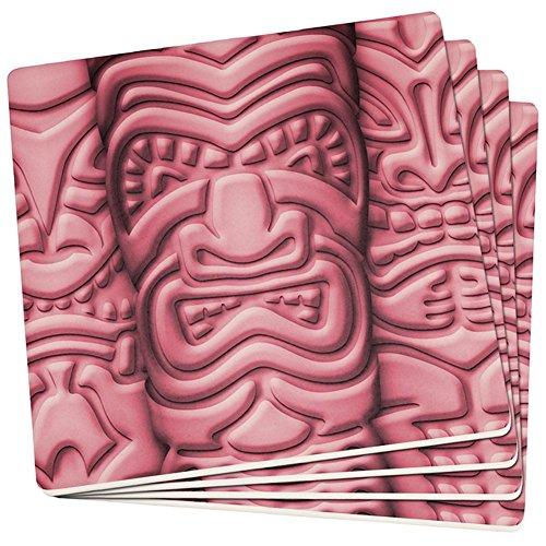 Tiki God Pink Gesicht Luau Set von 4 Quadratischen Sandstein-Achterbahnen Multi Standard One Größe