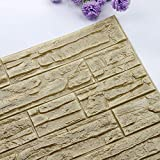 Huhu833 3D PE Foam Wallpaper DIY Wandaufkleber Panels Room Decal Stone Brick Decoration Embossed Wandtattoo 60cmx30cm (R, 60cmx30cm)