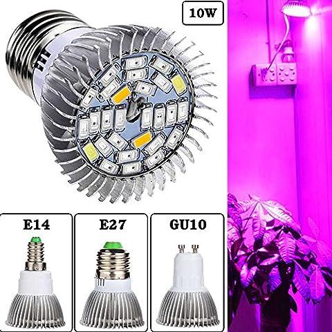 Luniquz 28LEDs Lampe de Culture Plein Spectre Lampe de Plante Intérieur 10W E27 Ampoule de Croissance pour Végétation Hydroponique ou en Serre