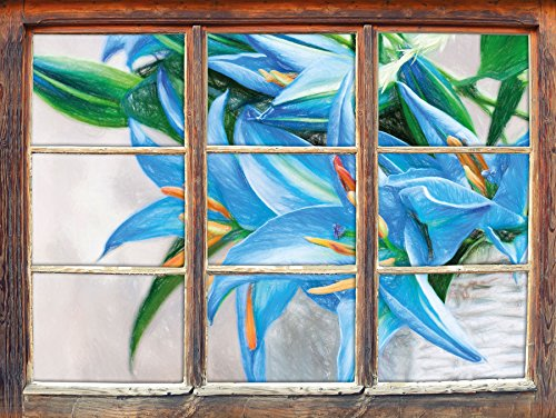 schöne blaue Blumen im Körbchen Kunst Buntstift Effekt Fenster im 3D-Look, Wand- oder...