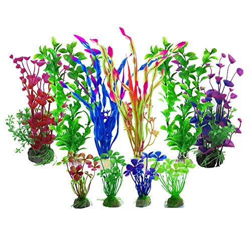 Aisamco künstliche Wasserpflanzen, 10 Stück Aquarium Pflanzen künstliche Aquarium Dekorationen, Aquarium künstliche Kunststoff Pflanzen Dekor Aquarium Landschaft