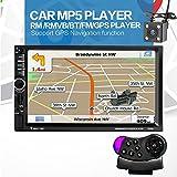 7020g 7inch 2DIN Bluetooth Auto Radio FM estéreo reproductor de MP5GPS de navegación de coche Multimedia con cámara de vista trasera y control de volante)