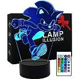 Lampe de table 3D Illusion Sonic The Hedgehog Lampe de table animée avec télécommande pour chambre d'enfant, éclairage créati