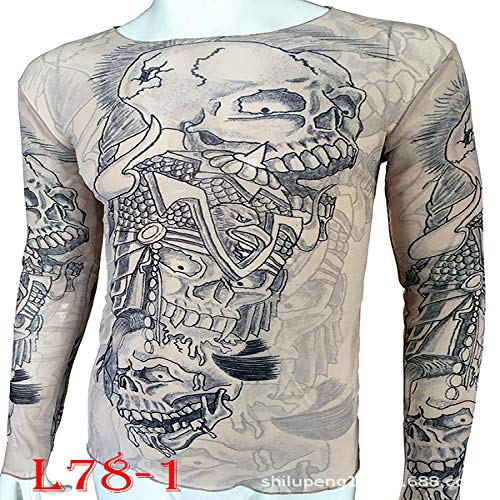 tzxdbh Tattoo Tattoo Langarm T-Shirt Damen Fan Digitaldruck Bodenbildung Shirt Musik Festival Kostüm L78-1 170CM-182CM 60KG-110KG (Dishonored Kostüm Party)