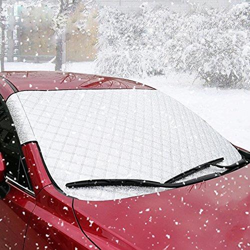 Auto Windschutzscheibe Abdeckung, BODECIN Auto Sided Windschutzscheibe Sonne Schatten Protector von Schnee, Sonne, Eis, Frost, Wind, Staub mit zwei Anti-Diebstahl Ohren Passend für die Meisten Autos - Sonne Blockieren Klappe