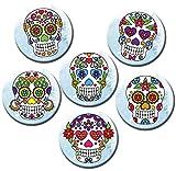 Kühlschrankmagnete Totenkopf Magnete für Magnettafel Stark 6er Set mit Motiv Blumen Totenköpfe groß Rund 50mm Zuckerschädel Bunt