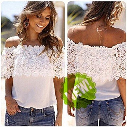 CYBERRY.M T-shirt Été Femme Casual Manches Courtes Fleur Imprimé Dentelle Épaule Nue Tee Chemise Top white