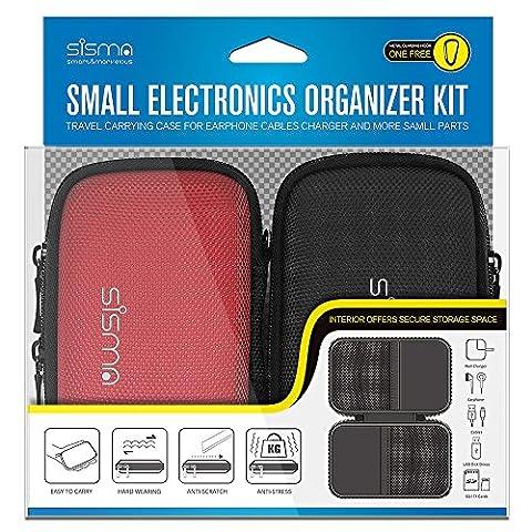 Sisma 2 x Petit Sac pour Câble Écouteur Chargeur USB-Clés Cartes Mémoire, Étui Organiseur pour Accessoires Électroniques, Mini-taille et Facile à Transporter (Kit - 2 x Petit