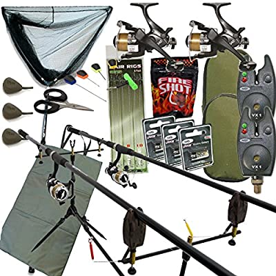 Full Carp fishing Set Up Complete With 2x Rods Reels Alarms Landing Net & Tackle from NGT