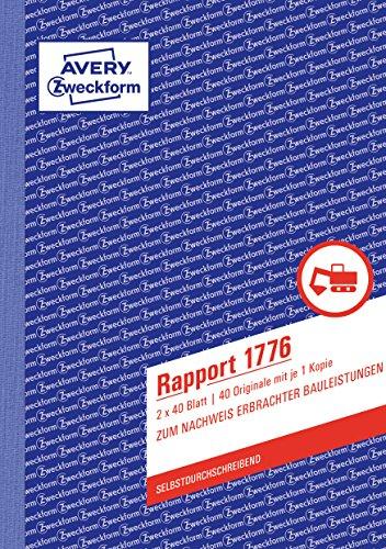 Avery Zweckform 1776 Rapport (A5, selbstdurchschreibend, 2x40 Blatt) weiß/gelb