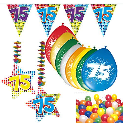 54-teiliges Partydeko Set * ZAHL 75 * für Mottoparty oder 75. Geburtstag mit Girlande, Rotorspiralen, Luftschlangen und vielen Luftballons von CARPETA® // Party Deko fünfundsiebzig (75. Geburtstag)