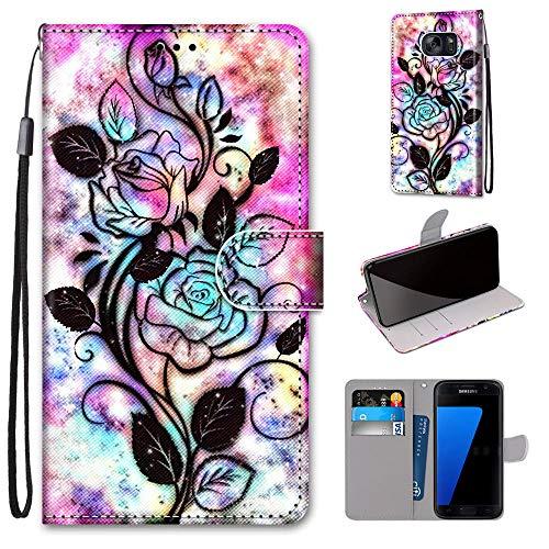 Miagon Flip PU Leder Schutzhülle für Samsung Galaxy S7,Bunt Muster Hülle Brieftasche Case Cover Ständer mit Kartenfächer Trageschlaufe,Blume Blatt