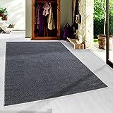 SIMPEX Moderner Kurzflor Guenstige Teppich Uni Einfarbig Grau Meliert 5 Groessen Wohnzimmer, Jugendzimmer, Meliert Kinderzimmer, Größe:80x150 cm
