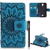 Huawei Y3/Huawei Y360 Hülle Leder,Huawei Y360 Flip Case,BtDuck Blume Tasche mit Magnetverschluss, Kartenfach Stand Cover für Huawei Y360 Wallet - Blau