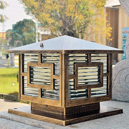Abgail 25 CM Continental Victoria 1-Licht Glaslaterne Bronze Säulenlampe Outdoor Tischlampe Moderne Einfache Aluminium Wasserdichte Straßenleuchte E27 Dekoration Beleuchtung -