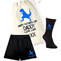 pretty little customs Printed Mens Boxers, Socks and Bag Set - Daddysaurus Dino Dinosaur - Father's Day Personalised Bag…