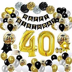 Idea Regalo - MMTX 40 decorazioni per feste di buon compleanno in oro nero, palloncini per 40 compleanno, pom pom di carta, palloncini in lamina d'oro per uomini e donne, decorazioni per feste per adulti (60 pezzi)
