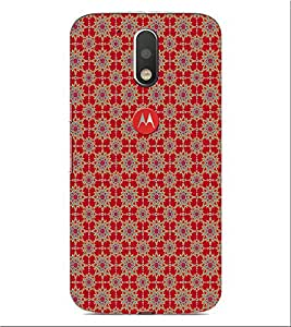ifasho Designer Phone Back Case Cover Motorola Moto G4 Plus ( Red Blue Pattern Design )