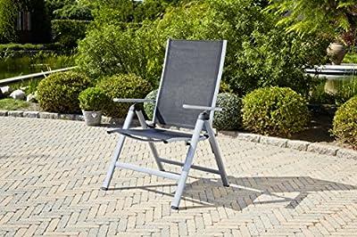 greemotion Klappsessel Monza Comfort silber/schwarz, für den Innen- und Außenbereich, Stuhl mit 7-fach verstellbarer Rückenlehne, schmutzunempfindlich und pflegeleicht, Sitzmaße: ca. 55 x 42 x 44 cm von Testrut - Gartenmöbel von Du und Dein Garten