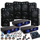 9000W PA Party Fasching Musikanlage 6x Boxen 3x Verstärker Lautsprecher USB MP3 Mixer DJ-Jeck