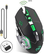 Wiederaufladbare 2.4Ghz Kabellose Gaming-Maus mit USB-Empfänger,7 Farben Hintergrundbeleuchtung für Macbook, Laptop, Computer PC (600 Mah Lithium-Batterie)-(Schwarz)