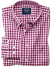 67b699ff26c Classic Fit Button-Down Non-Iron Poplin Red Gingham Cotton Shirt Single  Cuff by…