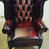 Chesterfield Highback geflügelten Stuhl in Antik Rot Oxblood Queen Anne Beinen. UK Hergestellt