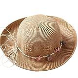 Demarkt Strohhut Strandhut Sonnenhut Sommerhut für Damen ideal für Reisen Blumen Khaki
