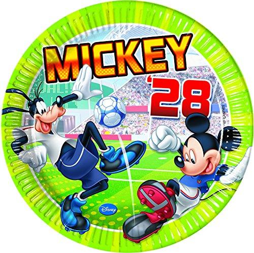23cm Disney Mickey Maus Fußball Party Teller, 8Stück (Keine Kostüme Disney World)