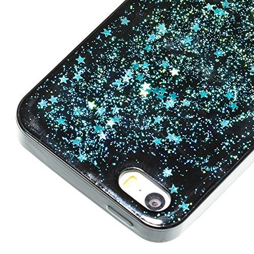 Pour iPhone 5 5S 5G / iPhone SE Case Cover, Ecoway TPU Soft Silicone Série à cinq pointes Housse en silicone Housse de protection Housse pour téléphone portable pour iPhone 5 5S 5G / iPhone SE - Rose  Bleu-vert 14