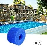 Filtre de piscine,TianranRT Pack de 4 Filtre réutilisable de mousse de piscine de cartouche de mousse d'éponge lavable Filtre en mousse filtrante en éponge