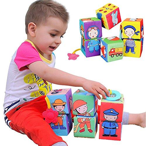 Baby Kleinkindspielzeug 6 Stücke Würfel Rasseln Stoffspielzeug Tiere Spielwürfel Frühkindliche Bildung,C (Trapez Drucken)