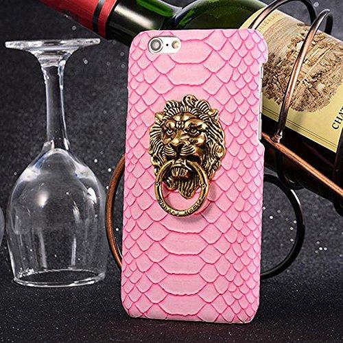 """Sijueam Coque pour Apple iPhone 6S/6 Plus 5,5"""" motif peau de Serpent en PC et cuir PU avec 3D tête de lion Housse de protection Etui Arrière Rigide iPhone 6S/6 Plus 5,5pouces Bumper Case Cover bequill Rose"""