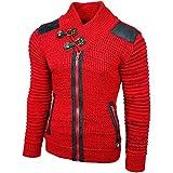 Rusty Neal Grobstrick Zipper Strick-Pullover Strickjacke Jacke RN-13289 NEU, Farbe:Rot;Größe:XL