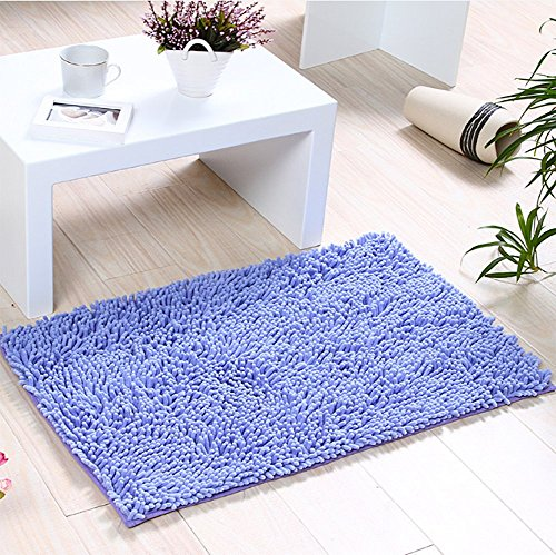 Badvorleger von iado/ 40x60cm Badteppich für Badezimmer, Flur, Schlafzimmer und Küche/ Rutschfester Badteppich (Lila)